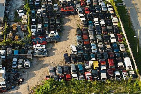 image 7-672-6823 Florida, Miami, Auto junkyard, Aerial view