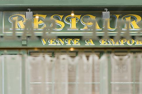 image 6-450-1005 France, Normandy, Bayeux, Through restaurant curtains