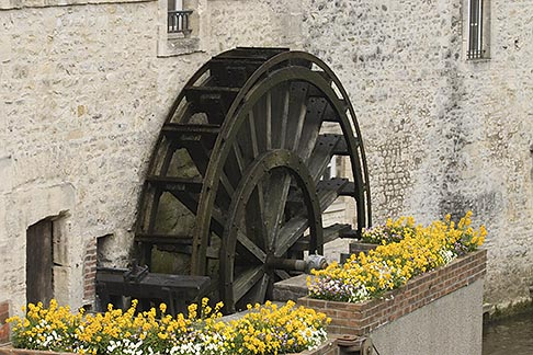 image 6-450-1019 France, Normandy, Bayeux, Waterwheel