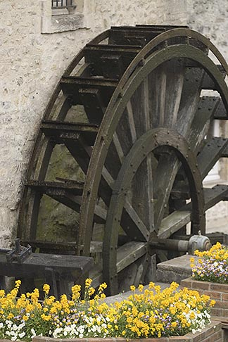image 6-450-1021 France, Normandy, Bayeux, Waterwheel