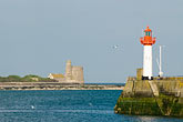 horizontal stock photography | France, Normandy, St. Vaast La Hougue, Harbor with lighthouse, image id 6-450-1107