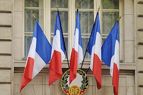 image 6-450-558 France, Paris, French flags