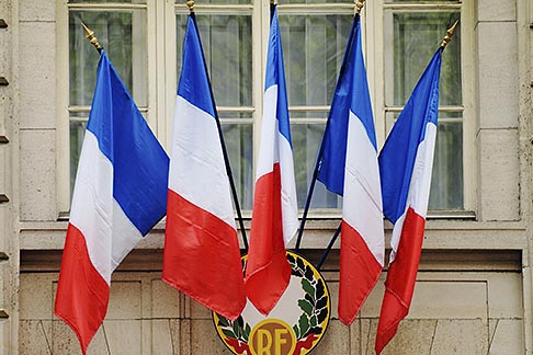 image 6-450-560 France, Paris, French flags