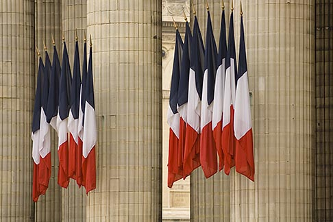 image 6-450-5744 France, Paris, Pantheon, French flags