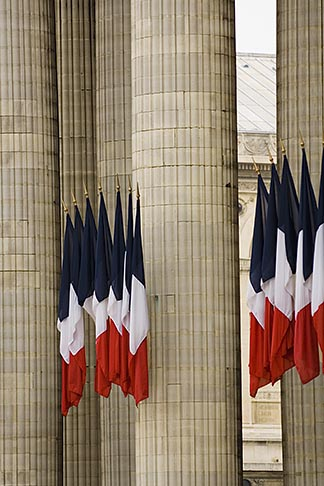 image 6-450-5745 France, Paris, Pantheon, French flags