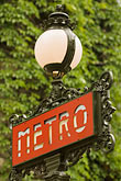 nobody stock photography | France, Paris, Metro sign, image id 6-450-5757