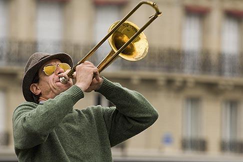 image 6-450-5790 France, Paris, Street band trombone player