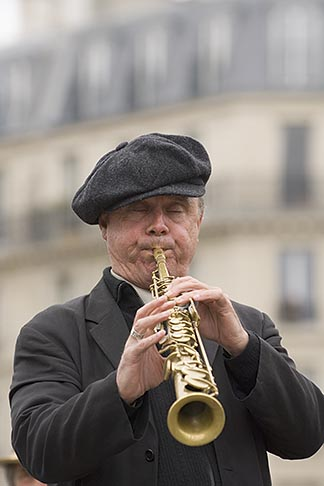 image 6-450-5807 France, Paris, Street band soprano sax player