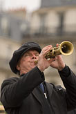 one man only stock photography | France, Paris, Street band soprano sax player, image id 6-450-5828
