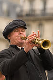one man only stock photography | France, Paris, Street band soprano sax player, image id 6-450-5829