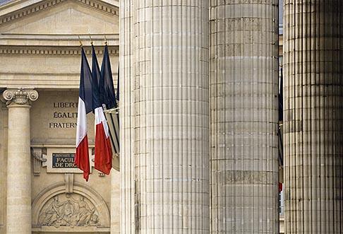 image 6-450-5872 France, Paris, Pantheon, French flags