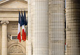 architecture stock photography | France, Paris, Pantheon, French flags, image id 6-450-5872