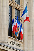 facade stock photography | France, Paris, Sorbonne, French flags in window, image id 6-450-591