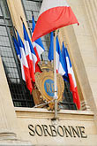 facade stock photography | France, Paris, Sorbonne, French flags in window, image id 6-450-594