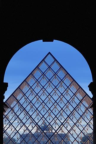 image 6-450-610 France, Paris, Musee du Louvre, Pyramide, night