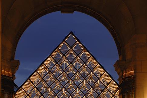 image 6-450-616 France, Paris, Musee du Louvre, Pyramide, night
