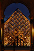 vertical stock photography | France, Paris, Musee du Louvre, Pyramide, night, image id 6-450-620