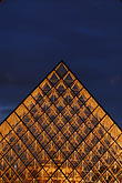 vertical stock photography | France, Paris, Musee du Louvre, Pyramide, night, image id 6-450-623