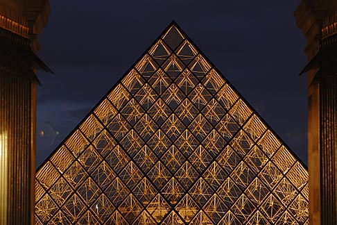 image 6-450-624 France, Paris, Musee du Louvre, Pyramide, night