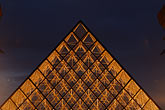 horizontal stock photography | France, Paris, Musee du Louvre, Pyramide, night, image id 6-450-625