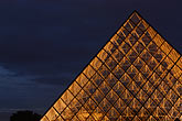 three sided stock photography | France, Paris, Musee du Louvre, Pyramide, night, image id 6-450-626