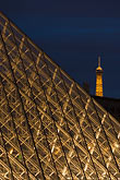 three sided stock photography | France, Musee du Louvre, Pyramide, night, and Eiffel tower, image id 6-450-628