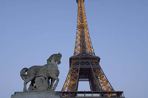 image 6-450-6353 France, Paris, Eiffel Tower and statue of horse
