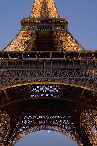image 6-450-6365 France, Paris, Eiffel Tower at night with moon