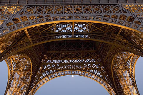 image 6-450-6369 France, Paris, Eiffel Tower at night with moon
