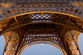 detail at night stock photography | France, Paris, Eiffel Tower at night with moon, image id 6-450-6369