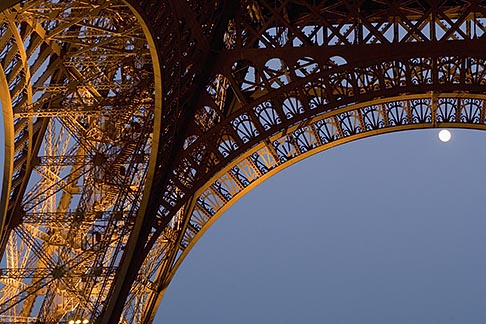image 6-450-6370 France, Paris, Eiffel Tower at night with moon
