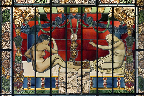 image 6-450-798 France, Paris, Musee dOrsay, Stained Glass, Vitrail Allegorique, Henry Coulier, 1895