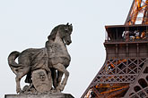 franzosen stock photography | France, Paris, Eiffel Tower and statue of horse, image id 6-450-816