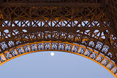 lit stock photography | France, Paris, Eiffel Tower, detail with moon, image id 6-450-828