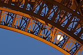 lit stock photography | France, Paris, Eiffel Tower, detail with moon, image id 6-450-830
