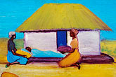 two women only stock photography | Malawi, The Gaia Organization, AIDS education painting, image id 4-979-7655