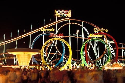 image 3-952-48 Germany, Munich, Oktoberfest, Roller Coaster at night