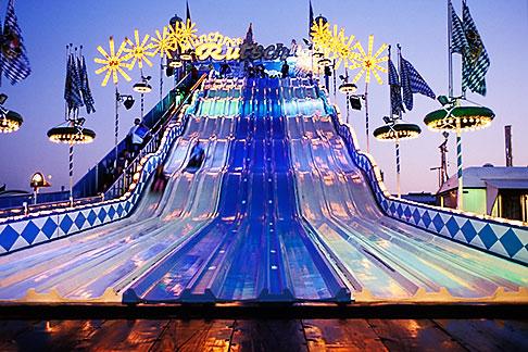 image 3-952-87 Germany, Munich, Oktoberfest, Fun slide at night