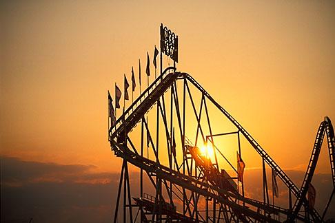 image 3-953-14 Germany, Munich, Oktoberfest, Rollercoaster at sunset