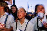 lederhosen stock photography | Germany, Munich, Oktoberfest, Kids with cotton candy, image id 3-954-44