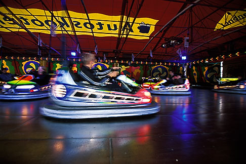 image 3-954-59 Germany, Munich, Oktoberfest, Autoskooter bumper cars carnival ride