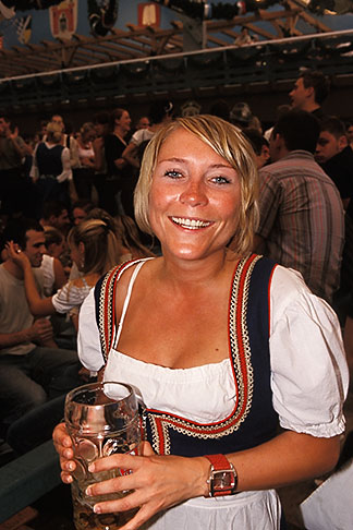 image 3-955-23 Germany, Munich, Oktoberfest, Woman in beer hall