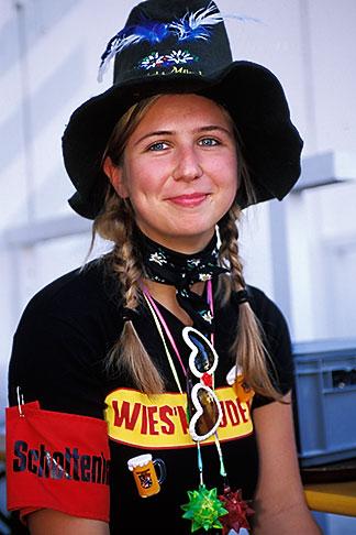 image 3-955-39 Germany, Munich, Oktoberfest, Woman in Oktoberfest hat