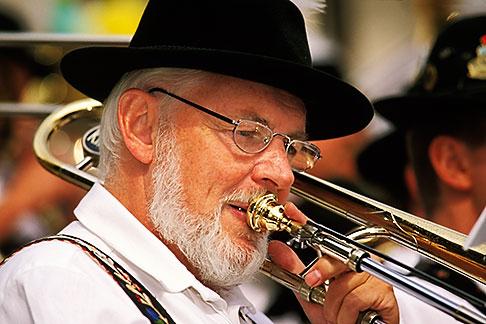 image 3-956-53 Germany, Munich, Oktoberfest, Band concert trombone player