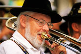 music instrument stock photography | Germany, Munich, Oktoberfest, Band concert trombone player, image id 3-956-53