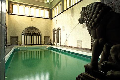 image 5-252-12 Germany, Wiesbaden, Kaiser Friedrich Baths, with stone lion