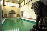 lion statue stock photography | Germany, Wiesbaden, Kaiser Friedrich Baths, with stone lion, image id 5-252-12