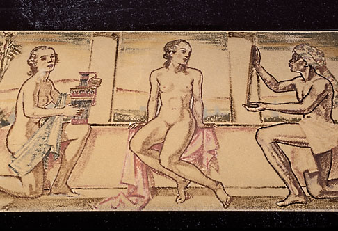 image 5-265-4 Germany, Wiesbaden, Frescoes of bathers, Schwarzer Bock spa