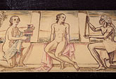 lady stock photography | Germany, Wiesbaden, Frescoes of bathers, Schwarzer Bock spa, image id 5-265-4
