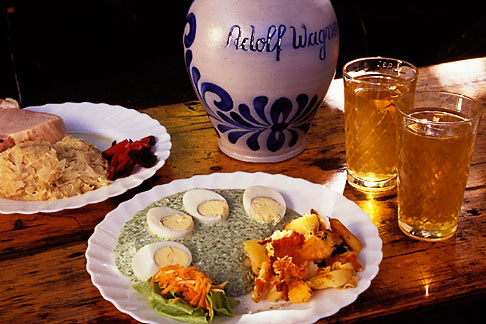 image 5-521-35 German food, Porkchop and sauerkraut, green sauce with egg